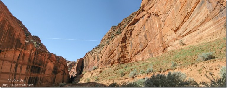 Mineral streaks on Navajo sandstone at junction with Buckskin Gulch trail Utah