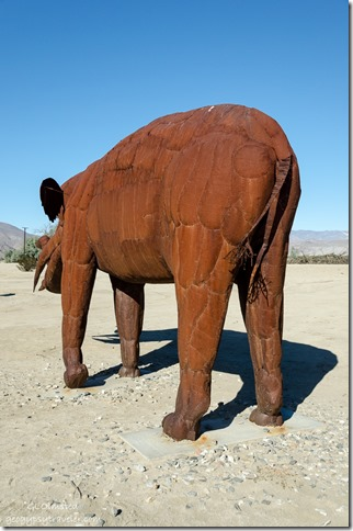 Mastadon metal sculpture by Ricardo Breceda Galleta Meadows Borrego Springs California