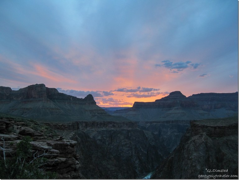 Sunset view West from Plateau Point Grand Canyon National Park Arizona