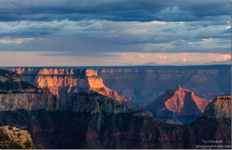 Sunset light on Wotans Throne, Angels Gate & over South Rim from Lodge North Rim Grand Canyon National Park Arizona