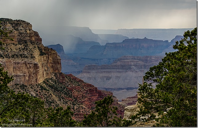 rainy view W canyon Trail of Time Rim trail South Rim Grand Canyon National Park Arizona