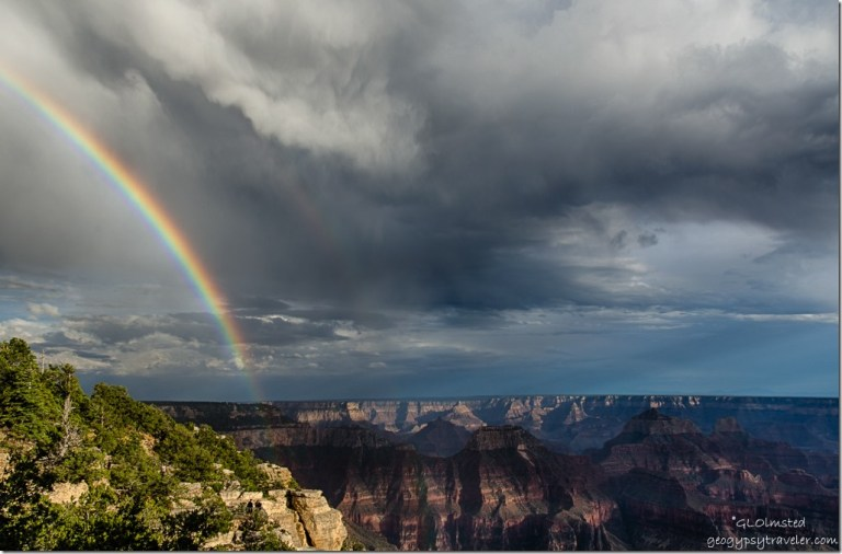 rainbow stormy sky temples from Lodge North Rim Grand Canyon National Park Arizona