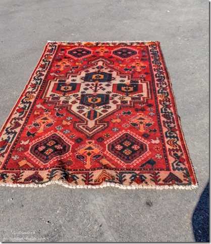 Iranian hand woven rug Berta bought Wickenburg Arizona