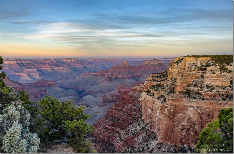 sunrise over canyon Cape Royal North Rim Grand Canyon National Park Arizona