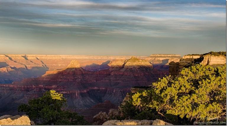 early light on temples & South Rim walls Cape Royal North Rim Grand Canyon National Park Arizona