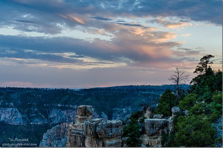 trees boulders Walhalla Plateau sunset from Point Imperial North Rim Grand Canyon National Park Arizona