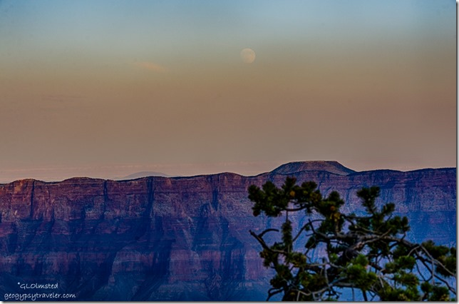 moon rise from Cape Royal North Rim Grand Canyon National Park Arizona
