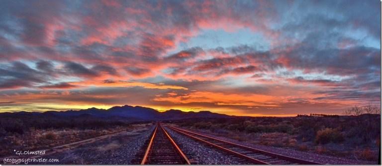 Sunset RR tracks Weaver Mountains Kirkland Arizona