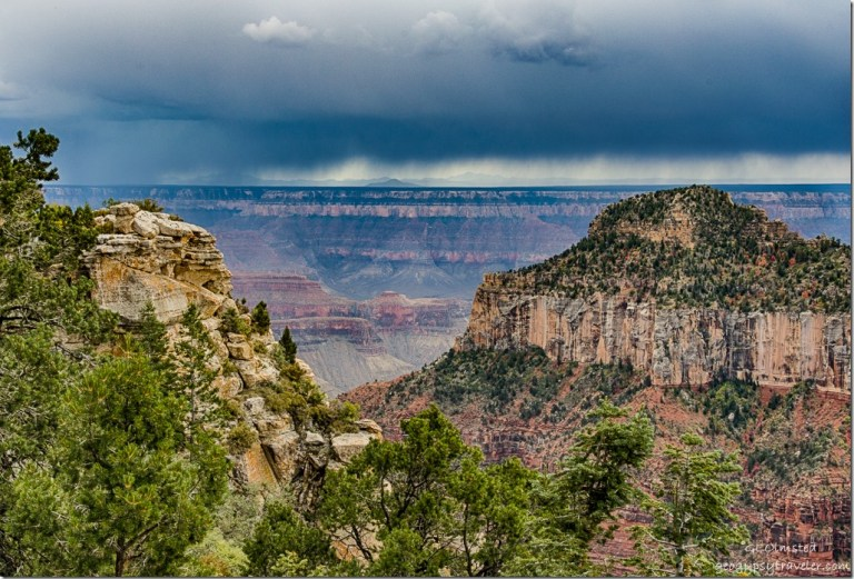 Oza Butte storm over South Rim from Transept trail North Rim Grand Canyon National Park Arizona