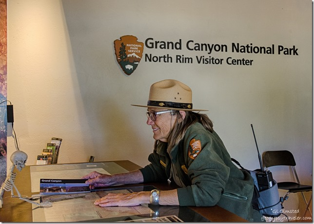 Skelly & Ranger Gaelyn Visitor Center North Rim Grand Canyon National Park Arizona