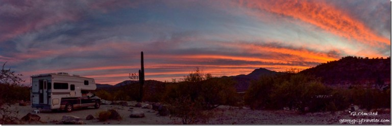 truck camper saguaro mountains sunset Burro Creek campground Arizona