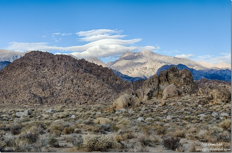 boulders morning light Eastern Sierras lenticular clouds Alabama Hills Lone Pine California