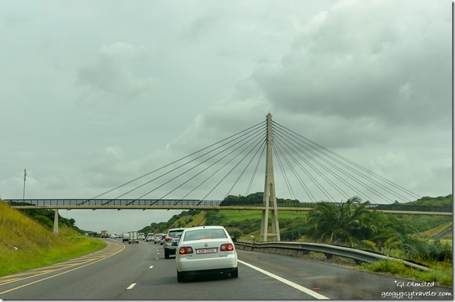 Suspension bridge over N2 SW coming into Durban South Africa