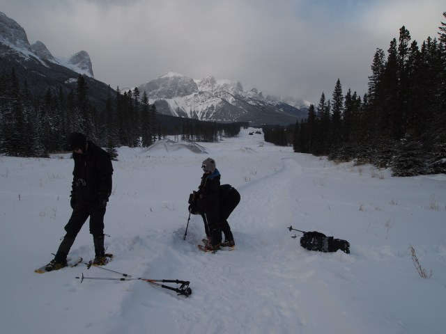 Fastening snowshoes and adjusting our poles seemed to take forever
