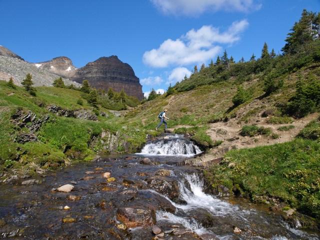Waterfall and creek crossing