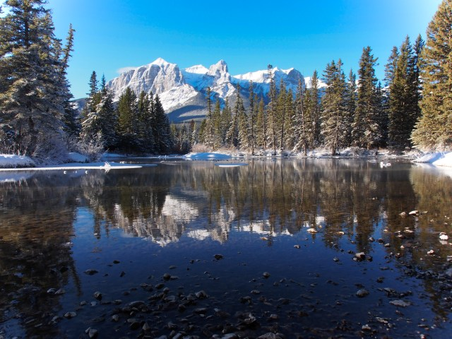 Mount Rundle from the north bank of Policeman's Creek.