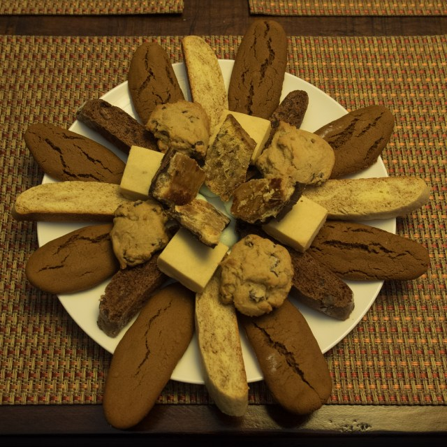 The magic number in this arrangement of cookies is eight...too many points for a snowflake, but maybe just the right number to prompt thoughts of a flower?