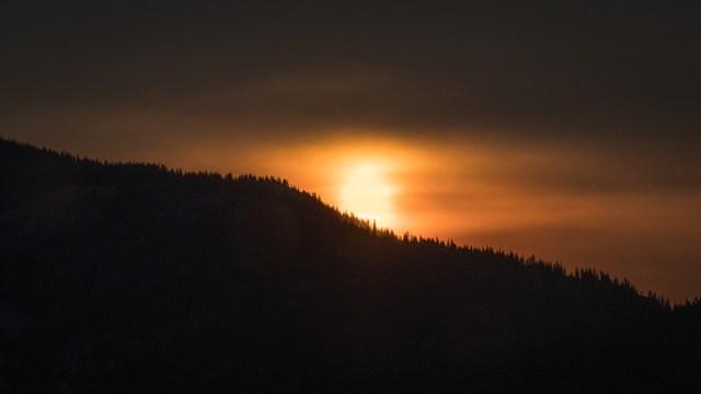 sun in smoke haze