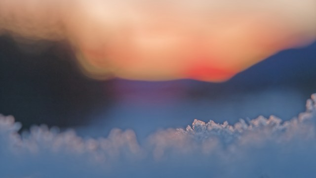 snow crystals and sunrise