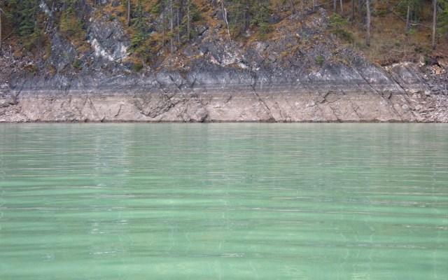 water lines on rocky shoreline