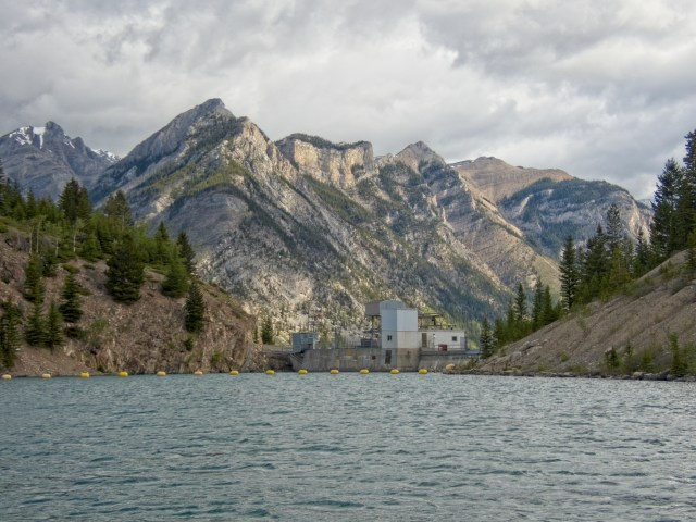 float boom at the head of Two Jack Lake