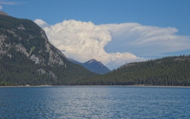 storm cloud behind mountain