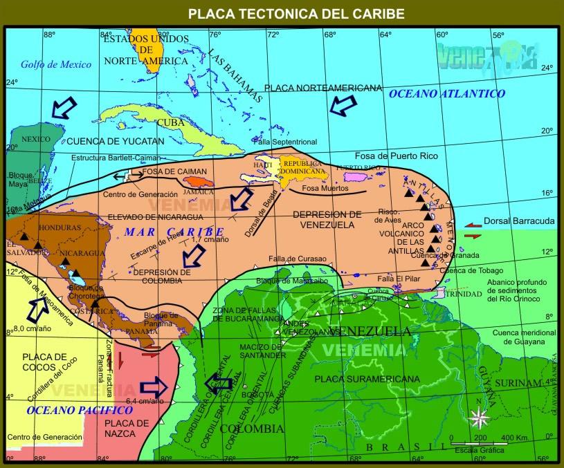 La interacción de la placa Caribe con la placa Suramericana genera condiciones de riesgo geológico en todo el territorio de Venezuela