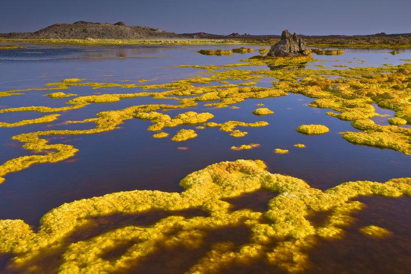 Subiendo a través de una gruesa cúpula de sal las aguas calentadas por el volcán Dallol se vuelven hiperácidas y cargadas de minerales. Erige en la superficie estas terrazas brillantes de geyserita. Etiopía.©Olivier Grunewald
