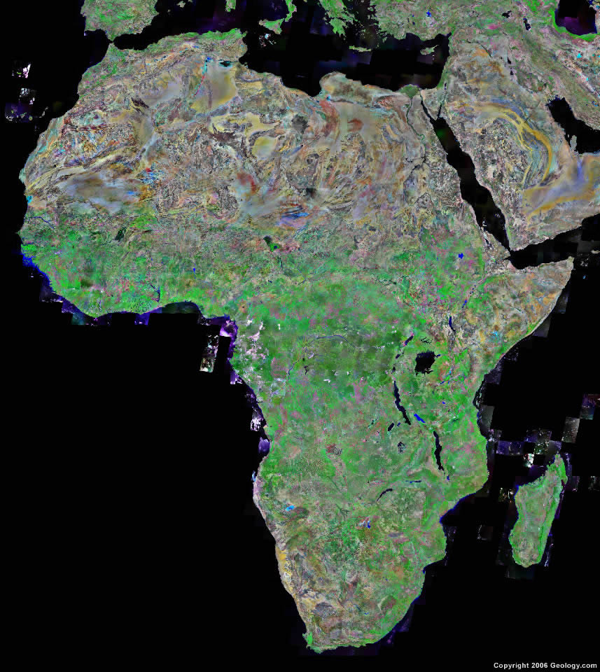 Africa Map and Satellite Image Africa satellite photo