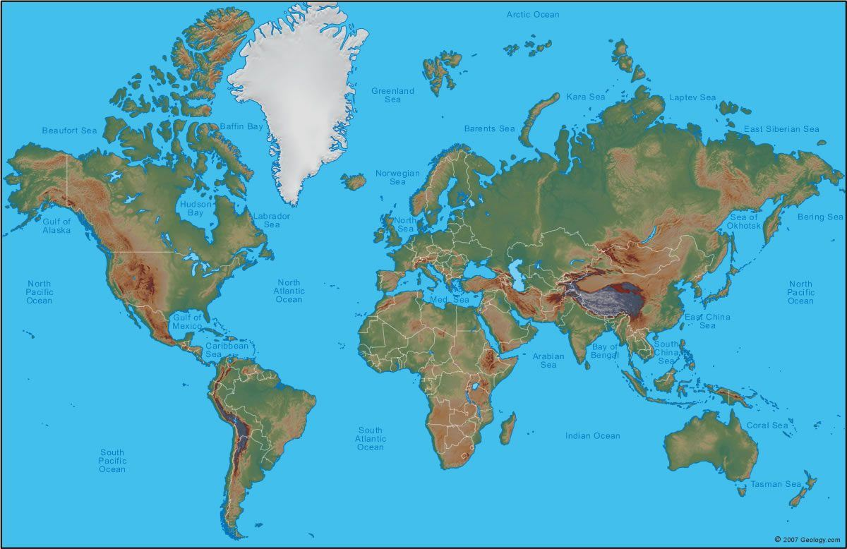 Maps World Map Physical