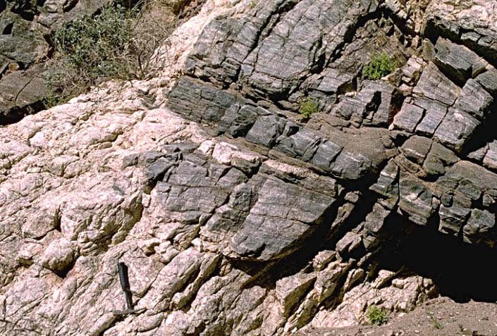 Pegmatite intruding Precambrian Gneiss