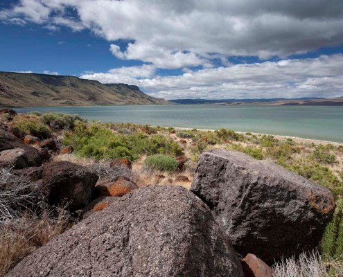 Lake Abert and Abert Rim, a downdropped basin and Uplifted Range