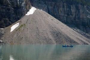 Talus cone and glacial lake