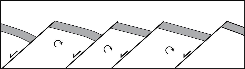 A line of tilted fault blocks.