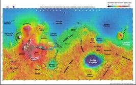 This image is from the Mars Orbiter Laser Altimeter. It shows the Martian landscape with the northern lowlands in blue and the southern highlands in reds, yellows, and oranges.