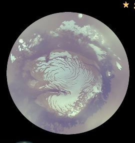 This shows the northern polar ice cap on Mars.