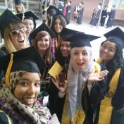 Before walking for the journalism ceremony.