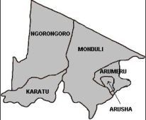 Map of Arusha. Image from Wikipedia.org.