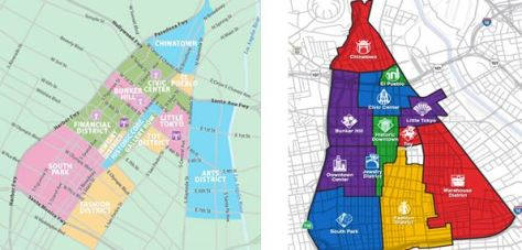 Figure 2: District map by experiencla.com and Figure 3: District map by 2004 Cartifact.