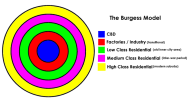 The Burgess Model of Urban Development. Image from Google Images.