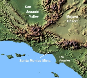 Map of Santa Monica Mts. Image from Wikipedia.