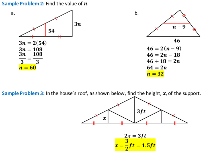 Triangle Midsegment Theorem Sample Problem 2 and Sample Problem 3