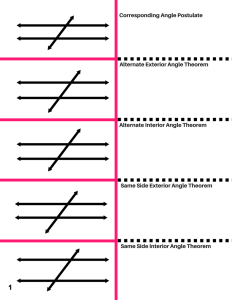 Identify Pairs of Lines and Angles - Parallel Lines Cut by a Transversal Worksheet