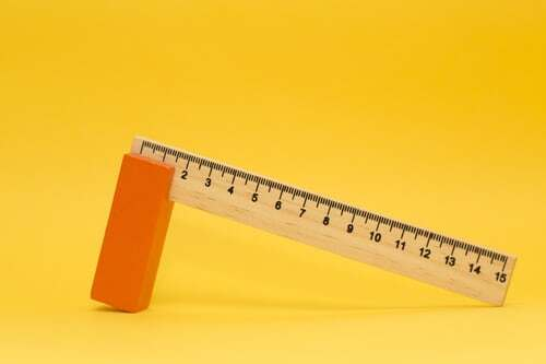 A ruler on a yellow background
