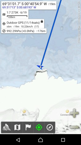 Location of the SA Agulhas II on 10 December at 20:00 SAST