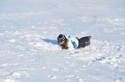 Nicola self-arresting using an ice axe