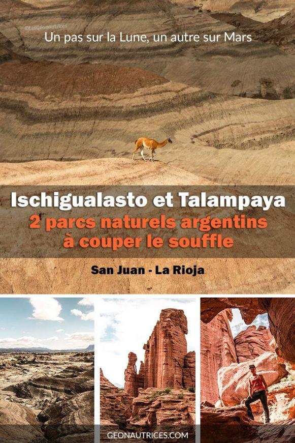Les parcs Ischigualasto et Talampaya en Argentine se situent dans les provinces de San Juan et La Rioja, au nord de Mendoza. Entre la Lune et Mars, les paysages nous transportent sur d'autres planètes. Nous en avons pris plein la vue ! Toutes les informations sur ces parcs sont dans notre article, par ici ! #ischigualasto #talampaya #parcs #nature #argentine