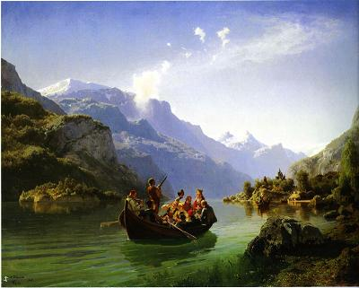 Not Munch: Brudeferd i Hardanger of 1848 shows the inner radiance of the landscape, but there is nothing unique in its style of representation.