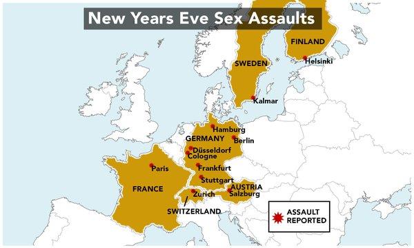 Сексуални посегателства, извършени от имигранти в новогодишната нощ в Европа