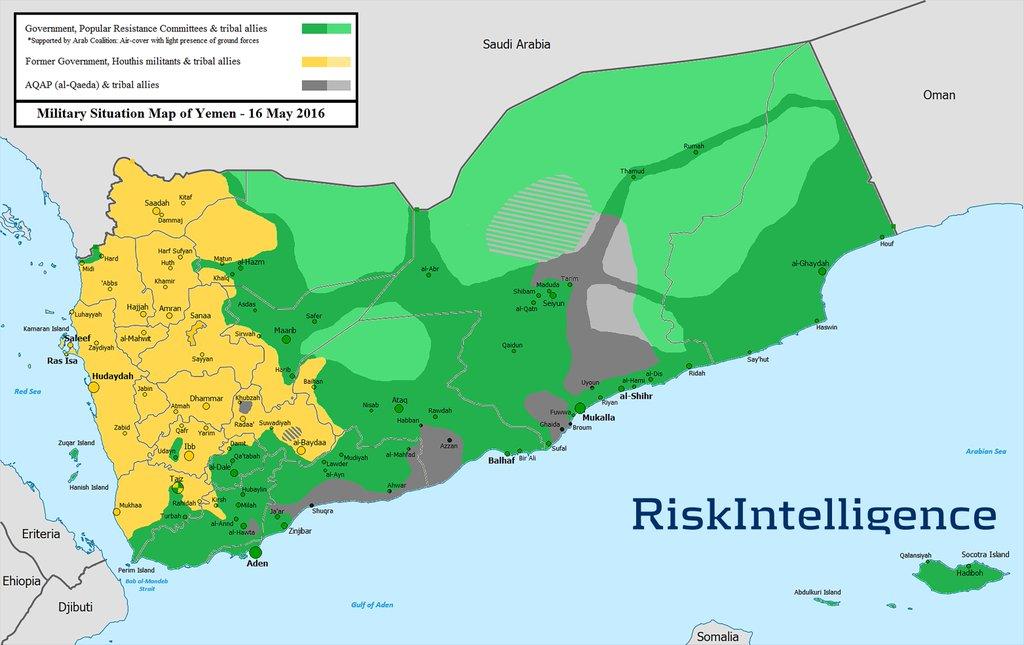 Позициите на страните в йеменския конфликт през май 2016